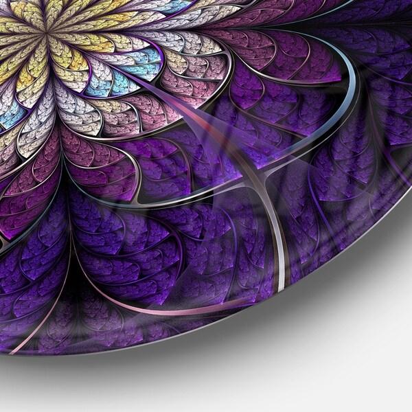 Designart Dark Blue and Pink Fractal Flowers Floral Metal Artwork Disc of 23 inch 23X23-Disc