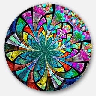 Designart 'Multi Color Fractal Flower Pattern' Modern Floral Round Wall Art