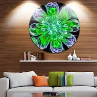 Designart 'Shiny Green Purple Fractal Flower on Black' Floral Round Metal Wall Art