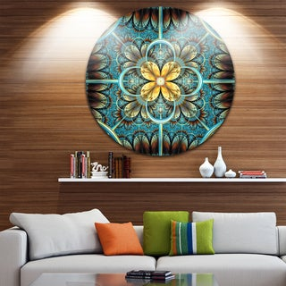 Designart 'Blue and Yellow Fractal Flower Design' Modern Floral Disc Metal Wall Art (4 options available)