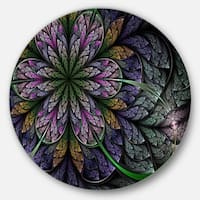 Designart 'Purple and Blue Fractal Flower Pattern' Modern Floral Disc Metal Artwork