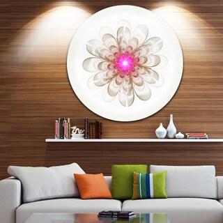 Designart 'Simple White Pink Fractal Flower Art' Floral Round Wall Art