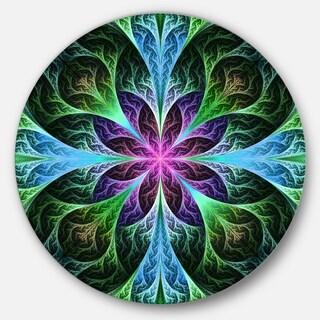 Designart 'Glowing Blue and Green Fractal Flower Pattern' Modern Floral Circle Wall Art