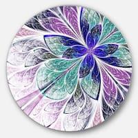 Designart 'Blue and Purple Fractal Flower Design' Modern Floral Round Wall Art