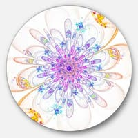 Designart 'Blue Fractal Flower with Abstract Petals' Floral Round Metal Wall Art