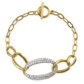 Luxiro Two-tone Sterling Silver Cubic Zirconia Open Oval Toggle Bracelet