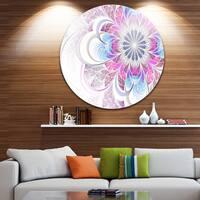 Designart 'Purple and Blue Flower Fractal' Modern Floral Disc Metal Artwork
