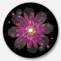 Designart 'Shiny Light Pink Fractal Flower on Black' Floral Large Disc Metal Wall art