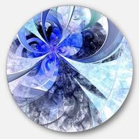 Designart 'Blue White Fractal Flower Pattern' Floral Round Wall Art