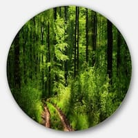 Designart 'Fascinating Greenery in Wild Forest' Forest Disc Metal Wall Art