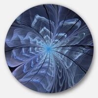 Designart 'Symmetrical Blue Digital Fractal Flower' Modern Floral Round Metal Wall Art