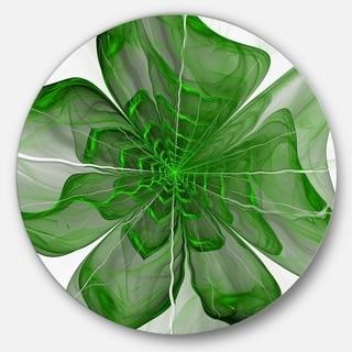 Designart 'Symmetrical Green Digital Fractal Flower' Modern Floral Disc Metal Wall Art