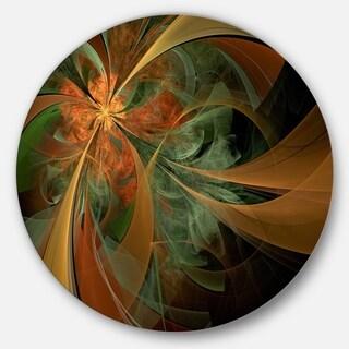 Designart 'Symmetrical Orange Digital Fractal Flower' Modern Floral Disc Metal Artwork