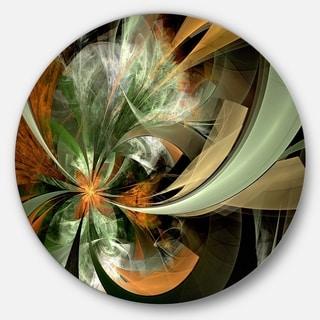 Designart 'Symmetrical Orange Green Fractal Flower' Modern Floral Circle Wall Art