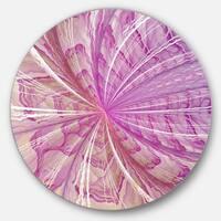 Designart 'Symmetrical Light Purple Fractal Flower' Modern Floral Round Metal Wall Art