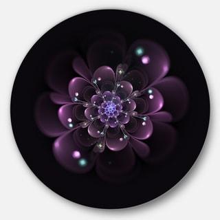 Designart 'Glowing Light Purple Fractal Flower on Black' Floral Large Disc Metal Wall art