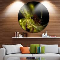Designart 'Symmetrical Soft Gold Fractal Flower' Modern Floral Round Wall Art