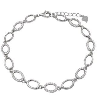 Luxiro Two-tone Sterling Silver Cubic Zirconia Open Oval Bracelet