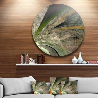 Designart 'Symmetrical Fractal Flower in Green' Modern Floral Circle Wall Art