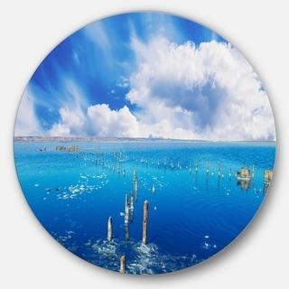 Designart 'Beautiful Blue Salk Lake' Seascape Round Metal Wall Art