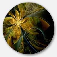 Designart 'Symmetrical Fractal Flower in Gold' Modern Floral Large Disc Metal Wall art