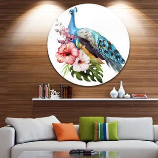 Designart 'Hibiscus Flowers and Blue Peacock' Flower Disc Metal Wall Art