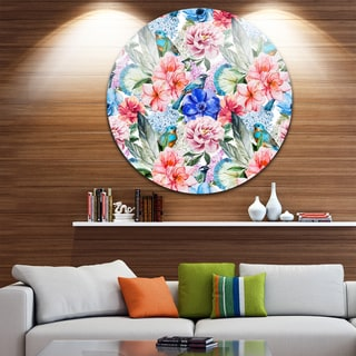Designart 'Colorful Flowers and Birds Watercolor' Flower Disc Metal Artwork