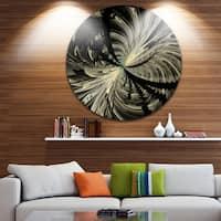 Designart 'Black and White Fractal Flower Design' Modern Floral Round Metal Wall Art
