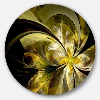 Designart 'Bright Golden Fractal Flower Design' Modern Floral Large Disc Metal Wall art