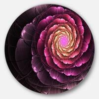 Designart 'Fractal Flower Light Purple Digital Art' Flower Round Metal Wall Art