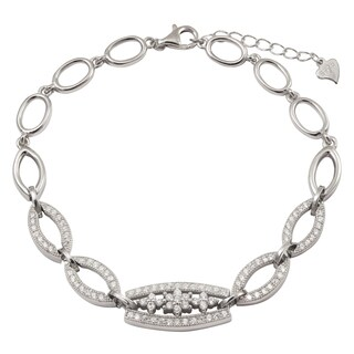 Luxiro Sterling Silver Cubic Zirconia Marquise Flower Bracelet