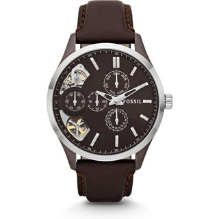 Fossil Women's ME1123 'Mechanical Twist' Dual Time Multi-Function Brown Leather Watch