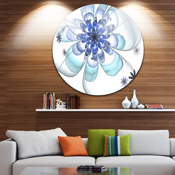 Designart 'Light Blue Fractal Flower' Modern Floral Disc Metal Wall Art