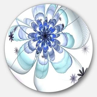Designart 'Light Blue Fractal Flower' Modern Floral Disc Metal Wall Art