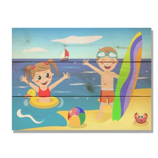 Beach Kids 11x15 Indoor/Outdoor Full Color Cedar Wall Art