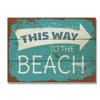 This Way to the Beach 11x15 Indoor/Outdoor Full Color Cedar Wall Art