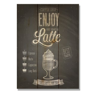 Enjoy Latte 11x15 Indoor/Outdoor Full Color Cedar Wall Art