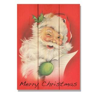 Merry Christmas Red Santa 11x15 Indoor/Outdoor Full Color Cedar Wall Art