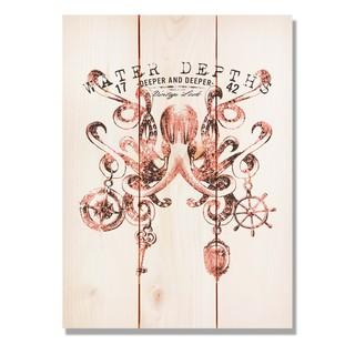 Water Depth Octopus 11x15 Indoor/Outdoor Full Color Cedar Wall Art