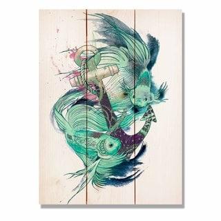Colorful Green Fish 11x15 Indoor/Outdoor Full Color Cedar Wall Art