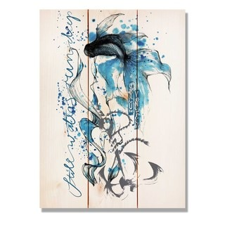 Colorful Blue Fish 11x15 Indoor/Outdoor Full Color Cedar Wall Art