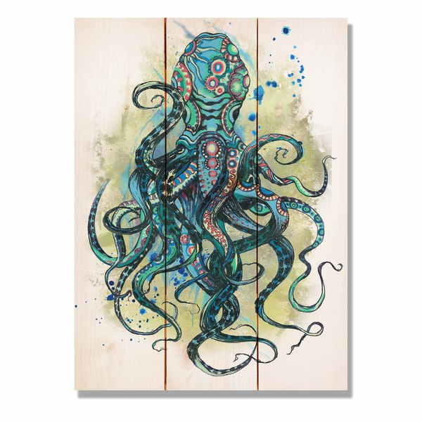 Colorful Blue Octopus 11x15 Indoor/Outdoor Full Color Wall Art
