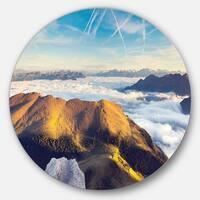Designart 'Fantastic View of Val Gardena Valley' Seashore Disc Metal Wall Art