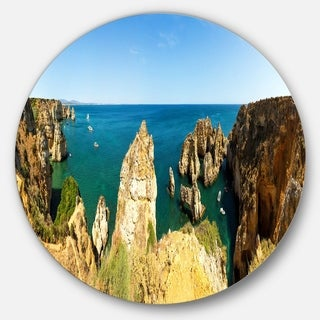 Designart 'High Cloudy Mountains Panorama' Beach Round Wall Art