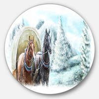 Designart 'Painted Scene with Horses in Winter' Landscape Disc Metal Artwork