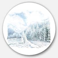 Designart 'Christmas Winter Happy Panorama' Landscape Round Metal Wall Art