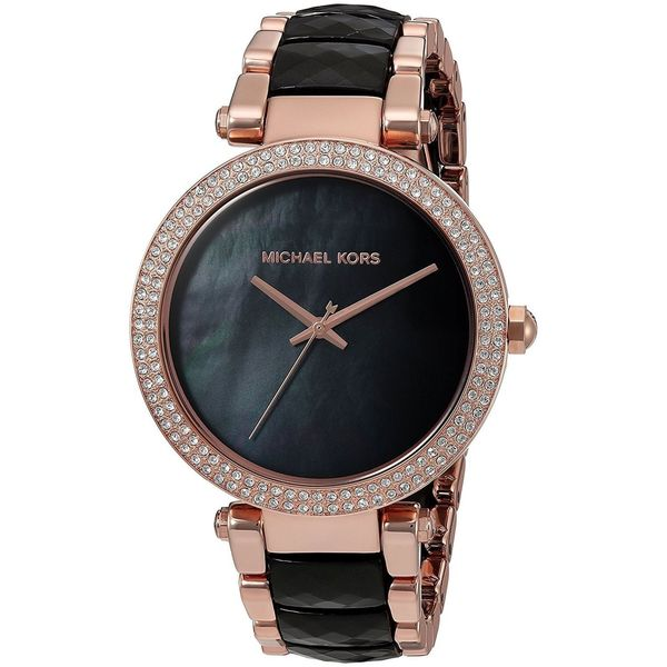 27e37f9f10ee Shop Michael Kors Women s MK6414  Parker  Crystal Two-Tone Stainless steel  and Acetate Watch - Free Shipping Today - Overstock - 14250079