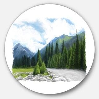 Designart 'Happy Summer Pastures in Mountains' Landscape Round Wall Art