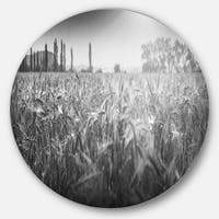 Designart 'Black and White Wheat Field' Landscape Disc Metal Wall Art