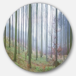 Designart 'Autumn Tree Trunks Panorama' Forest Round Metal Wall Art